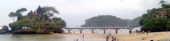 an island and a bridge at Balekambang beach, Malang