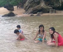 Pelangi and friends enjoying the Balekambang beach