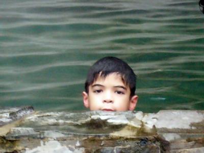 Anugerah in a pool in Cangar