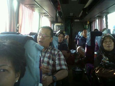 Inside a bus Jakarta-Malang