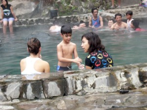 sitting in pool with hot water in Cangar
