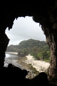 "View to the sea from Green Cave at Pasir Panjang beach"" title="