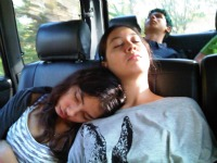 sleeping children in the car