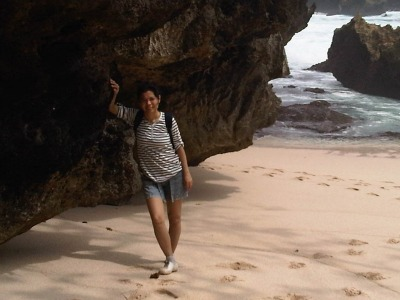 "At beautiful rock in Kembar II beach"" title="