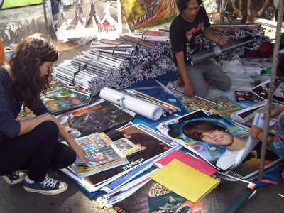 Posters vendor at Sunday Market Malang