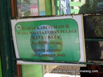 Entrée price to Coban Pelangi in Malang