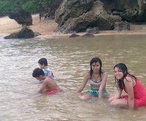 Pelangi and friends enjoying the Balekambang beach