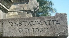 Engraved renovated year on the wall of Candi Singosari